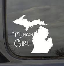 Wall Decor Plus More Wdpm3011 State Girl Silhouette Michigan Vinyl Car Decal White Amazon Com