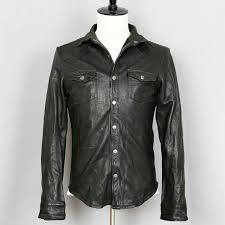 theory mens leather shirt jacket small