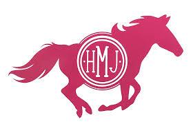 Amazon Com Custom Horse Monogram Vinyl Decal Equestrian Bumper Sticker For Tumblers Laptops Car Windows Horse Girls Gift Handmade