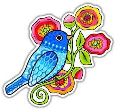 Amazon Com Blue Bird Sticker Colorful Flower Decal By Megan J Designs Laptops Windows Cars Vinyl Sticker Automotive