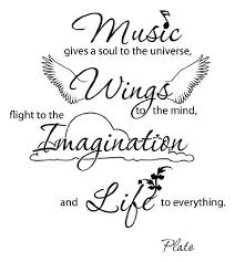 Music Gives A Soul To The Universe Wings To The Mind Flight To The Imagination And Life To Everything Wall Decal Music Wall Sticker Quote 4136 Black 31in X