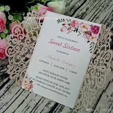 Compre Elegante Rubor Rosa Del Corte Del Laser Invitaciones Para