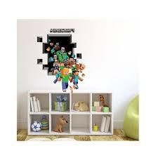 Large 3d Minecraft Wall Sticker 3d Vinyl Removable Wall Cling Decals Stickers Room Decor Walmart Com Walmart Com