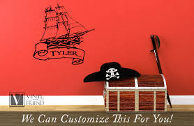 Pirate Ship And Scroll Custom Name Wall Decor Vinyl Lettering Decal Words Sticker Graphic 2359