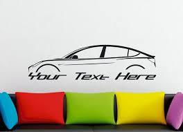 Large Custom Car Silhouette Wall Sticker For Tesla Model 3 Ev Electric Car