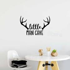 Woodland Nursery Wall Decal Little Man Cave Baby Boy Wall Sticker Quote Deer Antlers Kids Room Decoration Stickers Muraux Z436 Wall Stickers Aliexpress