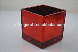 red cube glass vase square glass vase