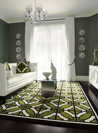 white furniture gray walls geometric