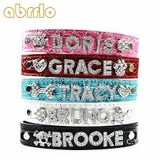 abrrlo dog name collar bling rhinestone