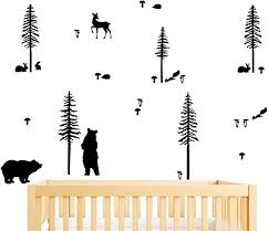 Amazon Com Yyart Woodland Animals Wall Sticker Pack Woodland Decor For Kids Rooms Bear And Tree Decal Sticker Vinyl Wall Decals For Bedroom And Living Room A57 Black Home Kitchen