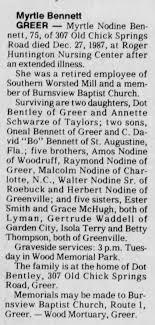 Myrtle Bennett Obit The Greenville News Greenville SC 29 Dec 1987 -  Newspapers.com