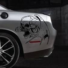 Winged Skull Vinyl Decal Sticker Car Truck Vehicle Horn Devil Dodge Ram Suv Van Wish