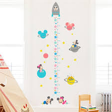 Hot Promo B38b Baby Minnie Mickey Height Sticker With Rocket Planet Star Growth Chart Wall Stickers For Kids Room Home Decoration Kids Decals Cicig Co
