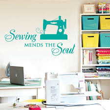 Sewing Mends The Soul Saying Vinyl Wall Decals Quote Art Decor Craft Room Wall Stickers Decorative Art Wish