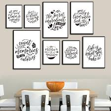 Kitchen Quotes Posters And Prints Black White Modern Minimalism Wall Art Canvas Painting Pictures Kitchen Home Art Wall Decor Painting Calligraphy Aliexpress