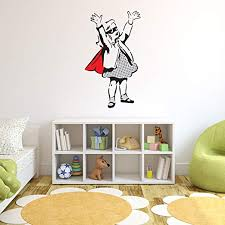 Amazon Com Style Apply Super Girl Banksy Wall Decal Wall Sticker Vinyl Wall Art Wall Applique Home Decor Mural Bd1032 31in X 54in Home Kitchen