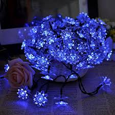 Best Deal Lycheea Solar Fairy String Lights Double Deck Lotus Shaped For Patio Garden Fence Christmas Party Decoration Blue 12m 80leds Best Indoor String Lights