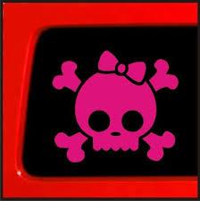 Amazon Com Pink Skull Bones Bow Decal Skull Funny Car Truck Laptop Vinyl Sticker Decal Window Automotive