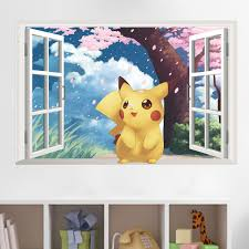 Decals Stickers Vinyl Art Pokemon Go Pikachu 3d Look Wall Vinyl Sticker Poster Kids Bed Room Mural Netpackmdz Com Ar