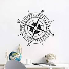 Amazon Com Nautical Compass Wall Decal Compass Rose Vinyl Sticker Ocean Sea Navigation Ship Home Interior Design Art Murals Bedroom Decor Ns886 Handmade