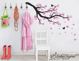 Nursery Wall Decals Blowing Pink Cherry Blossom Branch Vinyl Wall Deca Surface Inspired Home Decor Wall Decals Wall Art Wooden Letters