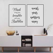 Wash Your Worries Away Quote Wall Art Canvas Print And Poster Bathroom Prints Canvas Poster Home Decoration Painting Calligraphy Aliexpress