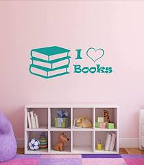 Amazon Com I Love Books Quote Vinyl Wall Decal Children S Library Decor Stickers Reading Motivation For Kids School Classroom Decoration Black White Yellow Gray Other Colors Small Large Sizes Handmade