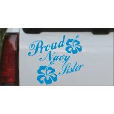 Proud Navy Sister Hibiscus Flowers Car Or Truck Window Decal Sticker Walmart Com Walmart Com