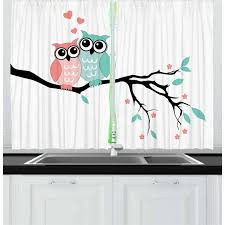 Teal And White Curtains 2 Panels Set Cute Owl Couple Sitting On Tree Branch Valentines Romance
