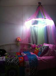 Pin By Gina Harlan On Ideas For A Girl S Room Canopy Bed Diy Bed Canopy With Lights Diy Bed