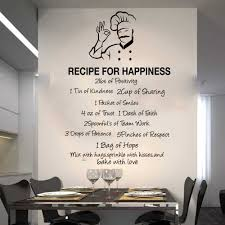 Large Recipe For Happiness Quote Wall Decal Kitchen Dinning Room Inspirational Love Hope Quote Wall Sticker Chef Cuisine Vinyl Wall Stickers Aliexpress