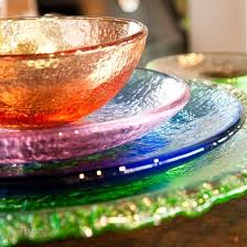 recycled glass dinnerware by fire and