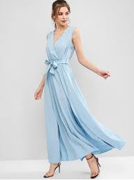 surplice belted maxi prom dress