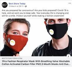 mask makers are posting misleading ads