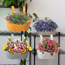 Flower Pot Hanging Balcony Garden Fence Plant Metal Iron Planter Bucket Decor Uk Ebay
