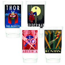 retro art deco poster pint glass 4 pack