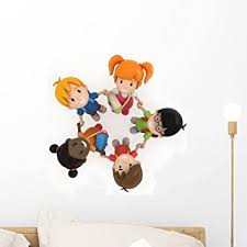 Amazon Com Wallmonkeys Of School Kids Holding Hands Wall Decal Peel And Stick Graphic Wm78739 18 In H X 18 In W Home Kitchen