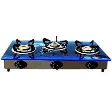 glass blue 3 burner gas stove