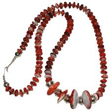 red spiny oyster necklace with native