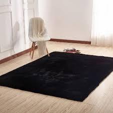 8 x 10 large faux fur black area rug
