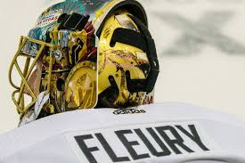 Oct 6 2017 Dallas Tx Usa A View Of The Vegas Strong Sticker On The Back Of The Helmet Of Vegas Golden Knights Goalie Marc Andre Fleury 29 Before The Game Against The