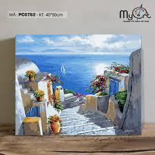 Tranh tô màu theo số PC0782 Tranh sơn dầu số hóa phong cảnh biển Địa Trung  Hải Santorini, giá chỉ 187,000đ! Mua ngay kẻo hết!