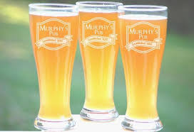 beer set of pint glasses etched glass
