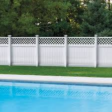 Freedom Ready To Assemble Freeport 6 Ft H X 6 Ft W White Vinyl Lattice Top Fence Panel In The Vinyl Fence Panels Department At Lowes Com