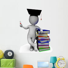 Student With Diploma Shows Wall Decal Wallmonkeys Com