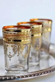 moroccan tea glasses with gold rim