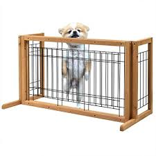 Amazon Com Wood Dog Gate Pet Fence Playpen Adjustable Indoor Free Stand Safety Solid Barrier Wooden Construction Wide Freestanding Extra Walk Folding Panel Baby