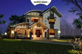 design night 3d view of a 3 bhk house plan