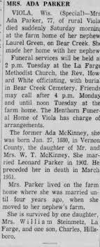 Ada McKinney Parker Obituary La Crosse Tribune 13 Jan 1958 Mon. Page 2 -  Newspapers.com