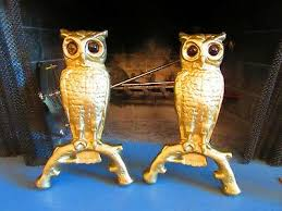 cast iron fireplace gold owl andirons w